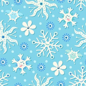 Monster Snowflakes on Teal