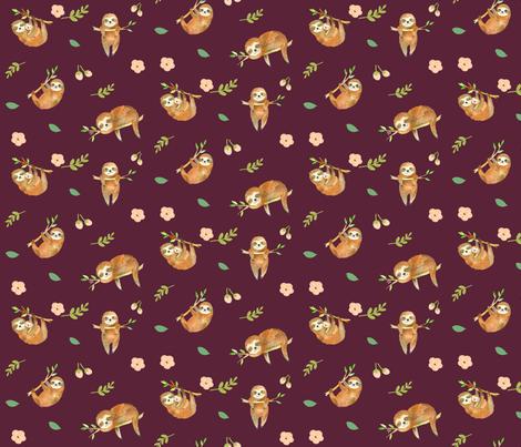 Sleepy Sloths Maroon Mauve fabric by pickeekids on Spoonflower - custom fabric