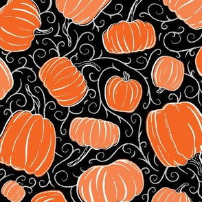 Orange + Black Pumpkin Patch with Textured Swirl Background // Fall Holiday Print Lovely for Halloween and Thanksgiving