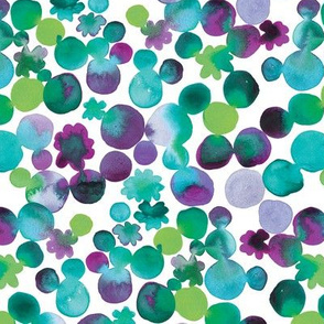 Dotty Floral in Greens and Purple