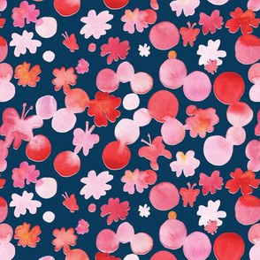Pink red butterfly on navy