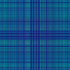 Blue Green  Fine Lines Plaid