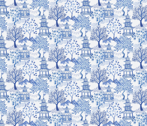Pagoda Landscape in Blue (Drop Match) fabric by danika_herrick on Spoonflower - custom fabric