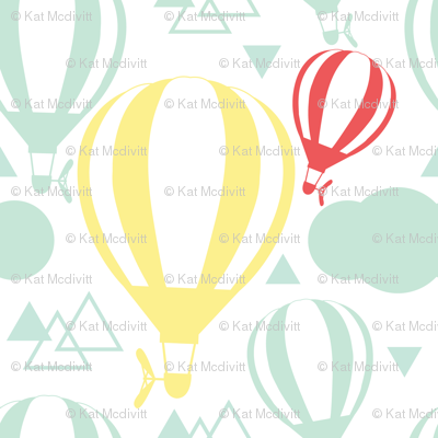 Jumbo Yellow Balloon with Triangles in Red and Green