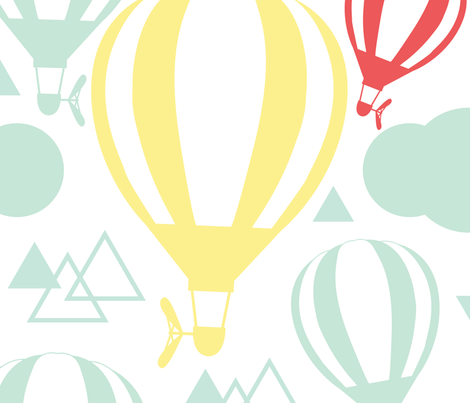 Jumbo Yellow Balloon with Triangles in Red and Green fabric by chiqdesign on Spoonflower - custom fabric