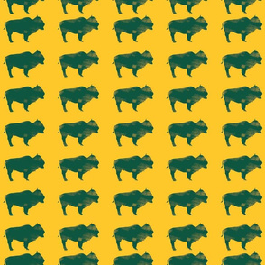 Green Bison with Yellow Background