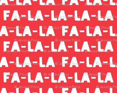 FA-LA-LA-LA-LA - red  - holiday fabric