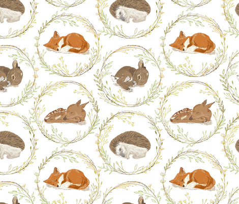 Sshhh, Don't Wake the Babies!  Large Scale fabric by red_raspberry_designs on Spoonflower - custom fabric
