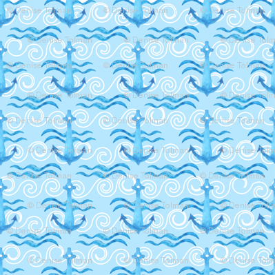 Boat Anchors Ocean Blue on Blue Waves