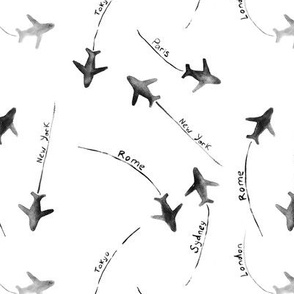around the world pattern in black-and-white || watercolor planes