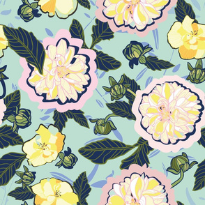 Japan inspired Dahlia floral pattern