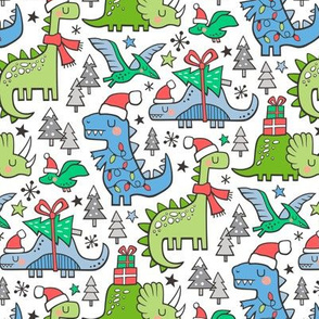 Christmas Holidays Dinosaurs & Trees Pink Dark Blue & Green on White Smaller 75% Scale