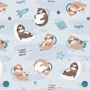 Space Sloth - light blue brown BIG