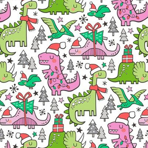 Christmas Holidays Dinosaurs & Trees Pink on White Smaller 75% Scale