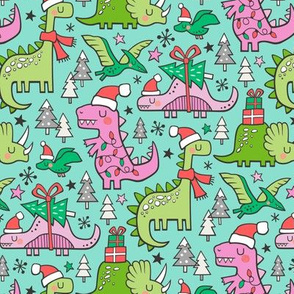 Christmas Holidays Dinosaurs & Trees Pink on Mint Green Smaller 75% Scale