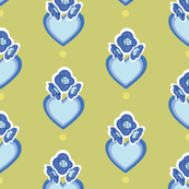 Green geometric pattern with small blue flowers & hearts