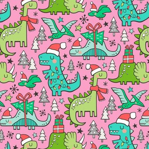 Christmas Holidays Dinosaurs & Trees on Pink Smaller 75% Scale