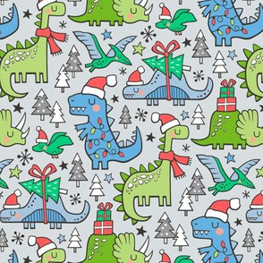 Christmas Holidays Dinosaurs & Trees Blue on Light Blue Grey Smaller 75% Scale