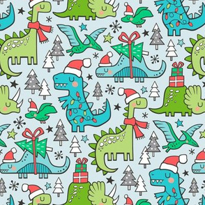 Christmas Holidays Dinosaurs & Trees on Light Blue Smaller 75% Scale