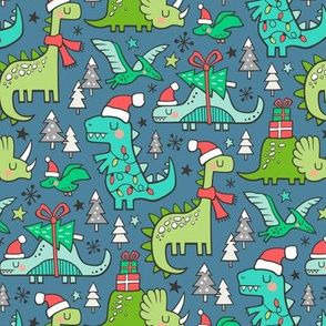 Christmas Holidays Dinosaurs & Trees on Dark Blue Navy Smaller 75% Scale
