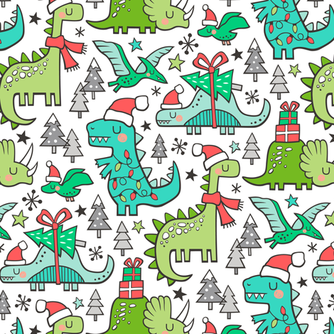 Christmas Holidays Dinosaurs & Trees Smaller 75% Scale fabric by caja_design on Spoonflower - custom fabric