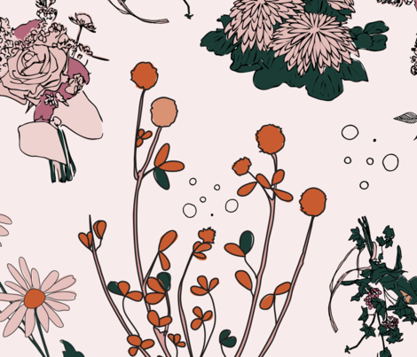 Dried flowers pink fabric by les_motifs on Spoonflower - custom fabric