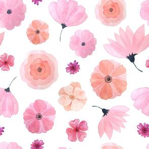 Wallpaper pink peach watercolor flowers floral wallpaper nursery