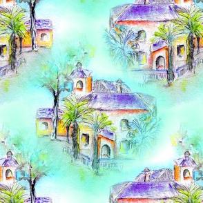 THE SPANISH VILLA DAYLIGHT aqua turquoise WATERCOLOR paint