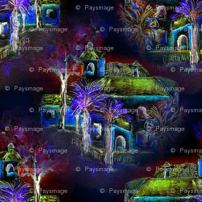 THE SPANISH VILLA NIGHT WATERCOLOR blue red purple