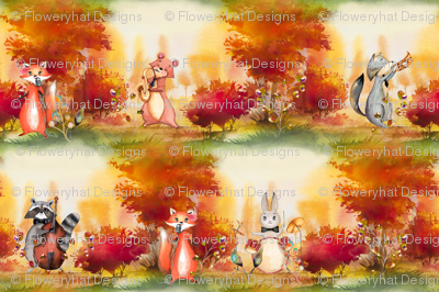 SMALL AUTUMN FOREST WOODLAND ANIMALS MUSIC ORCHESTRA SEAMLESS