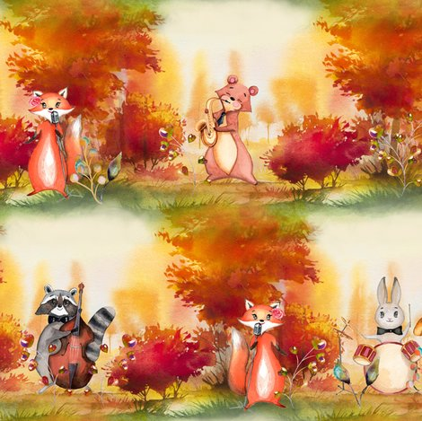 Rautumn-forest-woodland-animals-music-orchestra-by-floweryhat_shop_preview