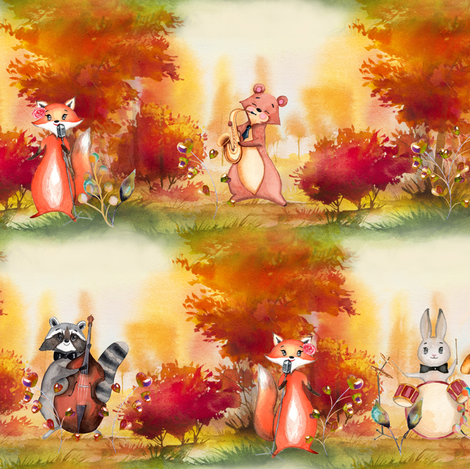 SMALL AUTUMN FOREST WOODLAND ANIMALS MUSIC ORCHESTRA SEAMLESS fabric by floweryhat on Spoonflower - custom fabric