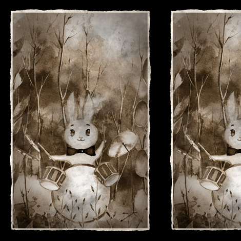 SMALL THE DRUM PLAYER RABBIT  AUTUMN FOREST WOODLAND ANIMALS MUSIC ORCHESTRA PANEL FRAMED OLD PHOTO STYLE fabric by floweryhat on Spoonflower - custom fabric
