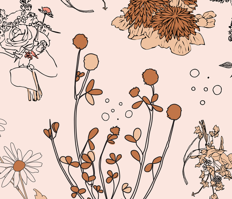 Dried flowers white fabric by les_motifs on Spoonflower - custom fabric