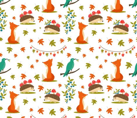 Autumn Forest Friends fabric by liudmilakopecka on Spoonflower - custom fabric