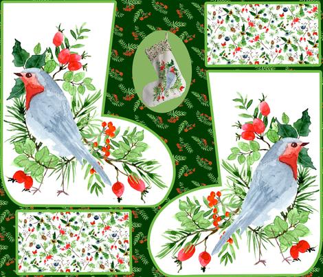 christmas stocking robin 4 fabric by hanneke_binnen on Spoonflower - custom fabric