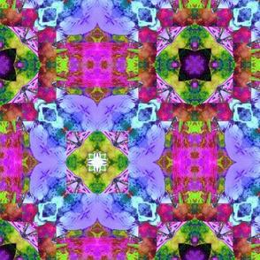 "6"" HAPPY TILES BOHO 1 PURPLE FLOWER PINK GREEN GYPSY checkerboard"