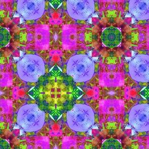 "6"" HAPPY TILES BOHO 5 PURPLE SPHERE PINK GREEN MAUVE DIAMOND GYPSY checkerboard"