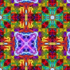 "6"" HAPPY TILES BOHO 7 PINK ORANGE MINT PURPLE BLUE YELLOW SYMBOL GYPSY checkerboard"