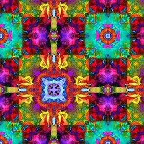 "6"" HAPPY TILES BOHO 9 FUCHSIA ORANGE MINT PURPLE AQUA FLAME YELLOW SYMBOL GYPSY checkerboard"