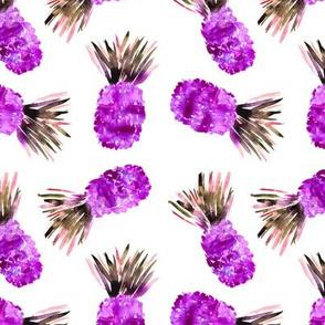 Fun watercolor pineapples in purple