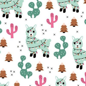 Kawaii Christmas lights and seasonal llama holiday cactus tree print mint pink