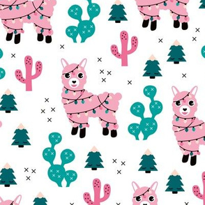 Kawaii Christmas lights and seasonal llama holiday cactus tree print blue pink