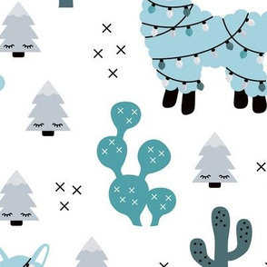 Christmas lights and seasonal llama holiday cactus tree print blue boys JUMBO