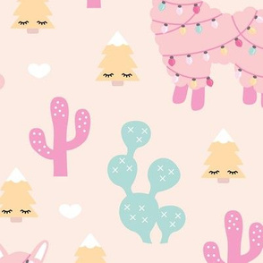 Kawaii Christmas lights and seasonal llama holiday cactus tree print soft pastel girls JUMBO