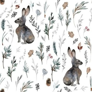 "8"" Woodland Bunnies // White"