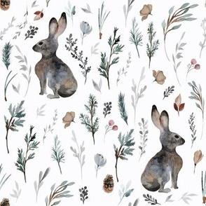 "8"" Woodland Bunnies // Lilac White"