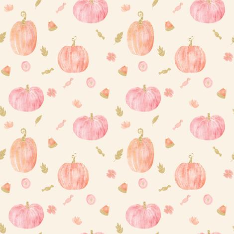 "4"" Sparkle Pumpkins // Cream fabric by hipkiddesigns on Spoonflower - custom fabric"