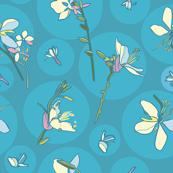 Blue dot pattern with white flowers