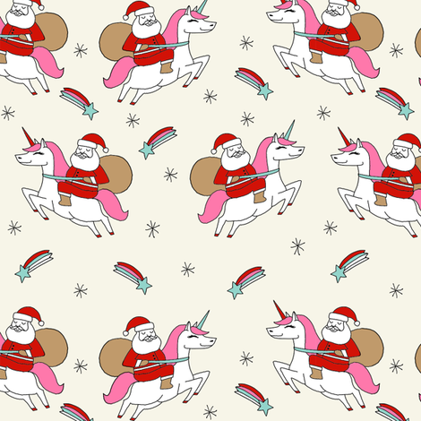 santa unicorn fabric - funny christmas fabric, unicorn christmas fabric, santa claus fabric, father christmas fabric, cute holiday design -  cream fabric by andrea_lauren on Spoonflower - custom fabric